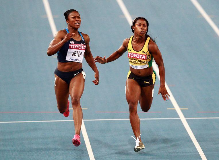 Carmelita Jeter en Shelly-Ann Fraser-Pryce kwamen ooit in de buurt van Flo-Jo's wereldrecord op de 100m.