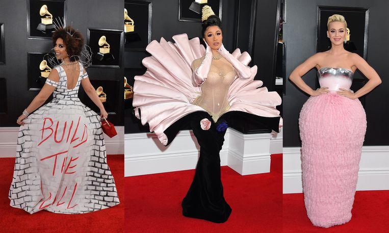 Zangeressen Joy Villa, Cardi B en Katy Perry op de rode loper van de Grammy Awards.