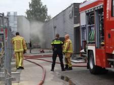 Sein brand meester bij brand autoschadeherstelbedrijf Veldhoven