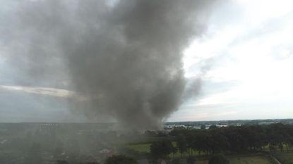 Drone filmt brand in Londerzeel