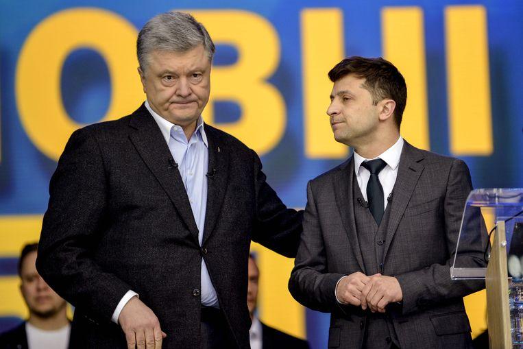 Huidig president Petro Poroshenko (links) en zijn tegenstander Volodymyr Zelensky.