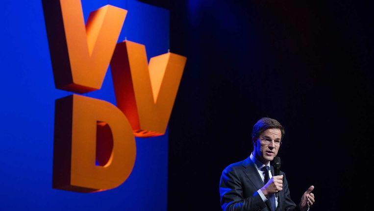 Premier Mark Rutte houdt een toespraak tijdens het voorjaarscongres van de VVD. Beeld anp
