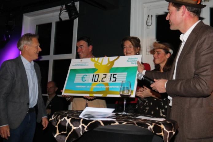 Dick van der Meer (links), voorzitter van Stichting Leergeld, ontvangt de cheque uit handen van Jan-Maarten Elias, voorzitter van de Rotaryclub Rozendaal-Veluwezoom.