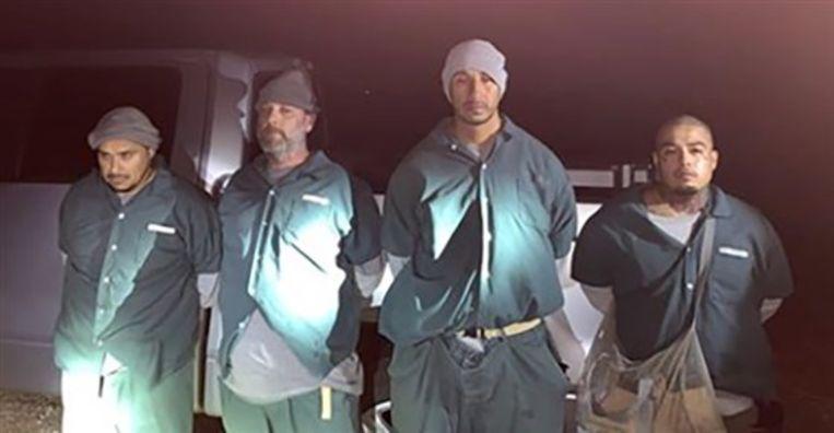 De vier betrapte smokkelgevangenen.