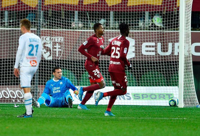 Opa Nguette heeft gescoord voor Metz tegen Olympique Marseille.