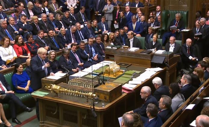 Boris Johnson à l'ouverture d'une séance historique du Parlement britannique.