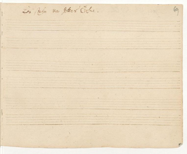 Lege bladzijde uit Bachs Orgelbüchlein met titelvermelding 'Es stehn vor Gottes Throne'. Beeld