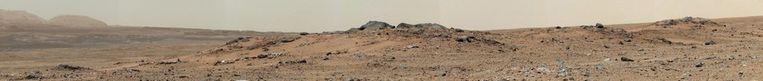 Curiosity maakte een paar dagen geleden deze panoramafoto van het Marsoppervlak. Beeld afp