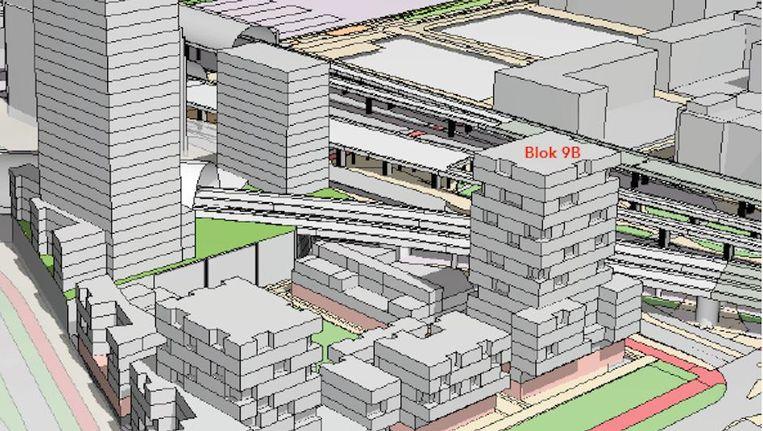 Impressie van de nieuwe toren met sociale woningen naast Sloterdijk Beeld Eigen Haard