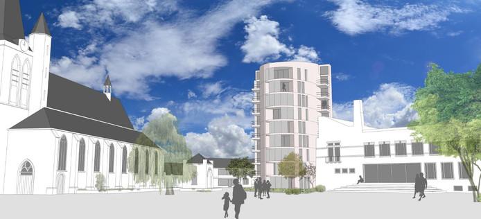Het schetsplan van de Schijndelse architect Steven Woudstra: een woontoren op de Markt in Schijndel.