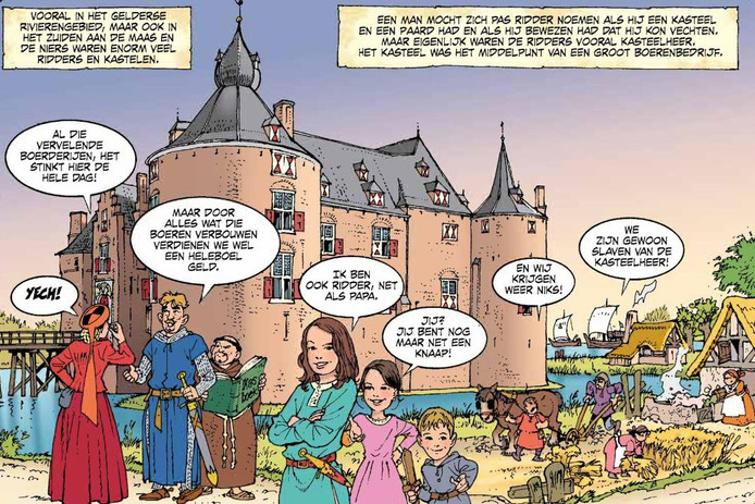 Kasteel Ammersoyen in het stripboek over de geschiedenis van Gelderland.