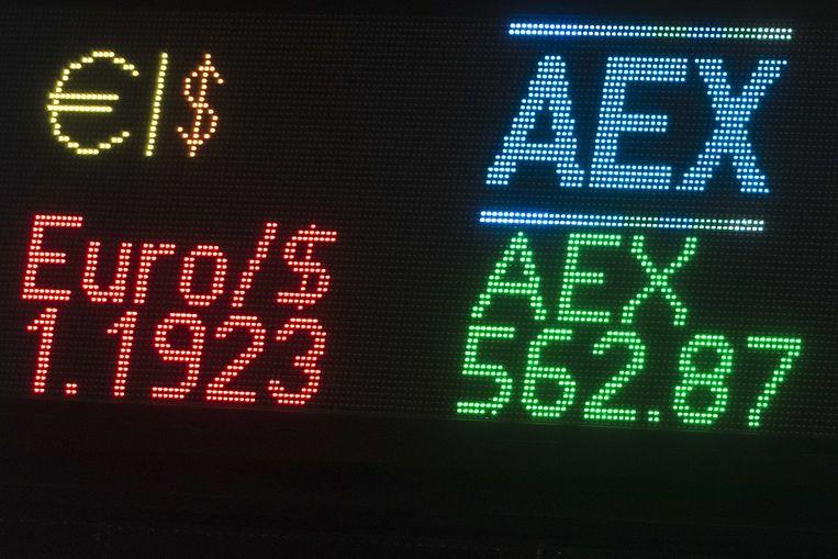 De tickertape van de AEX-index. De beurs heeft haar hoogste niveau met 563,04 punten bereikt sinds de zomer van 2001.  Beeld ANP