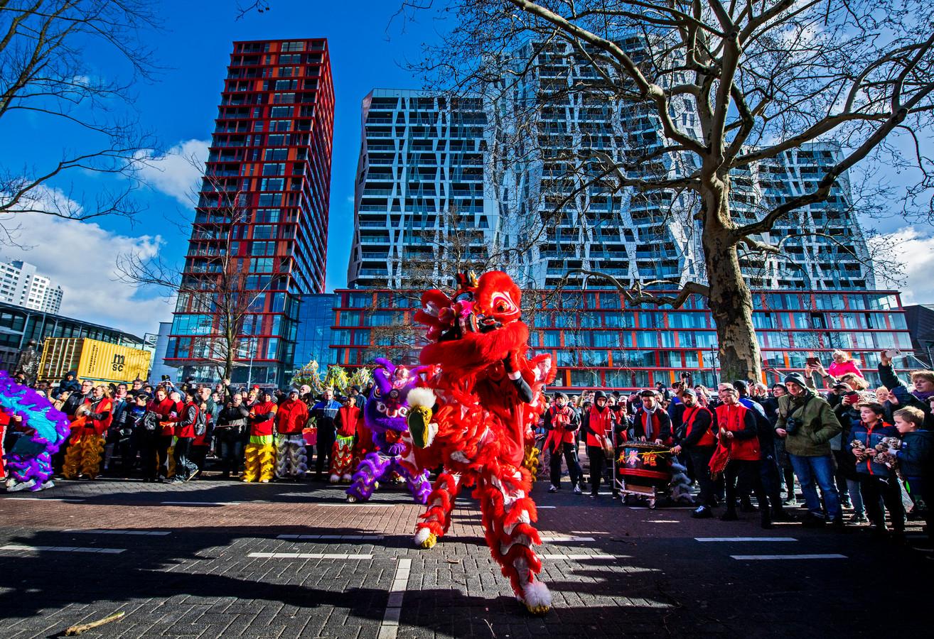 chinees nieuwjaar 2019 in rotterdam word gevierd aan de Kruiskade met een Drakenoptocht / drankendans. Foto: Frank de Roo