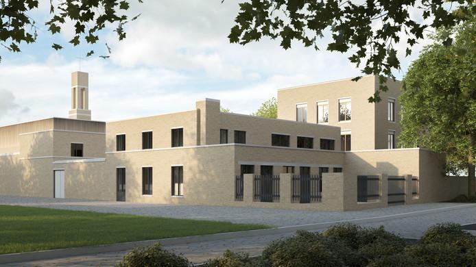 De oude pastorie bij de voormalige Vincentius à Paolokerk aan de Vitruviusweg in Eindhoven krijgt er een woonblokje (achter) bij in het ontwerp van Joost van den Brand van Van den Pauwert Architectuur.