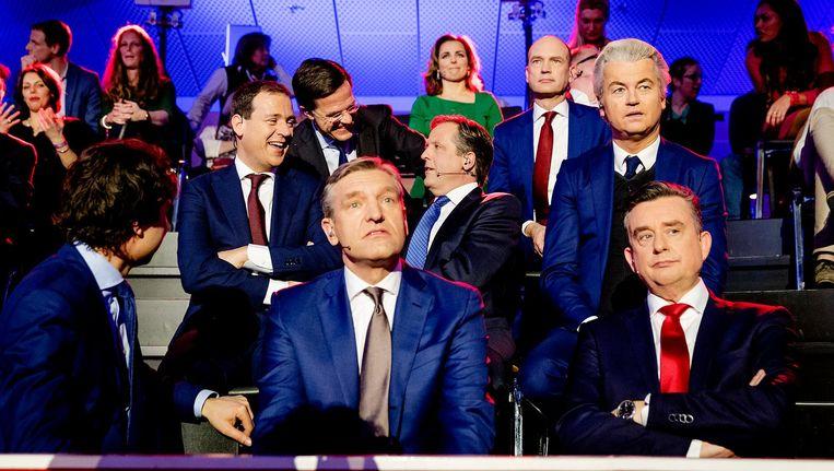 Lijsttrekkers Jesse Klaver (GroenLinks), Lodewijk Asscher (PVDA), Mark Rutte (VVD), Alexander Pechtold (D66), Sybrand Buma (CDA), Geert WIlders (PVV) en Emile Roemer (SP) Beeld ANP