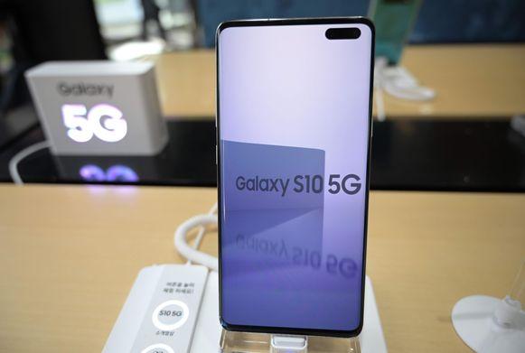Samsung Galaxy S10 5G in een winkel in Seoul.