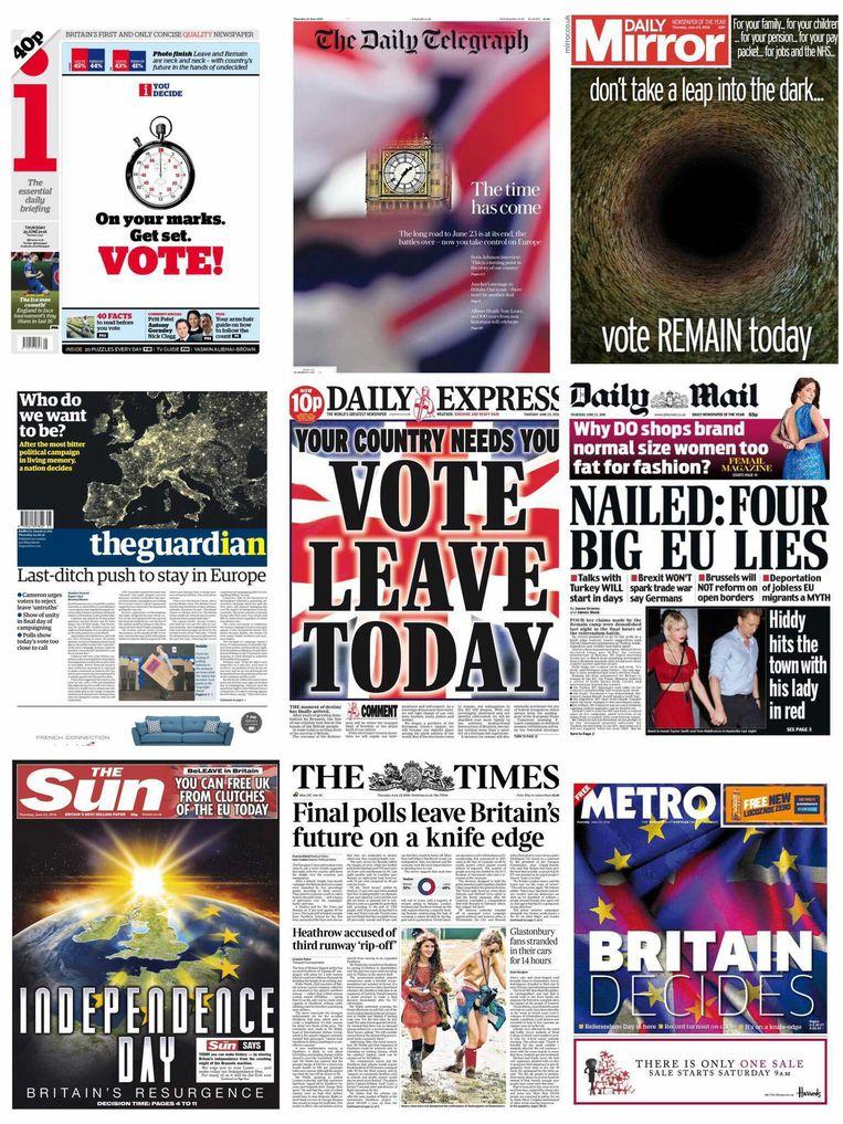 De Britse voorpagina's op de ochtend van het 'Brexit'-referendum.