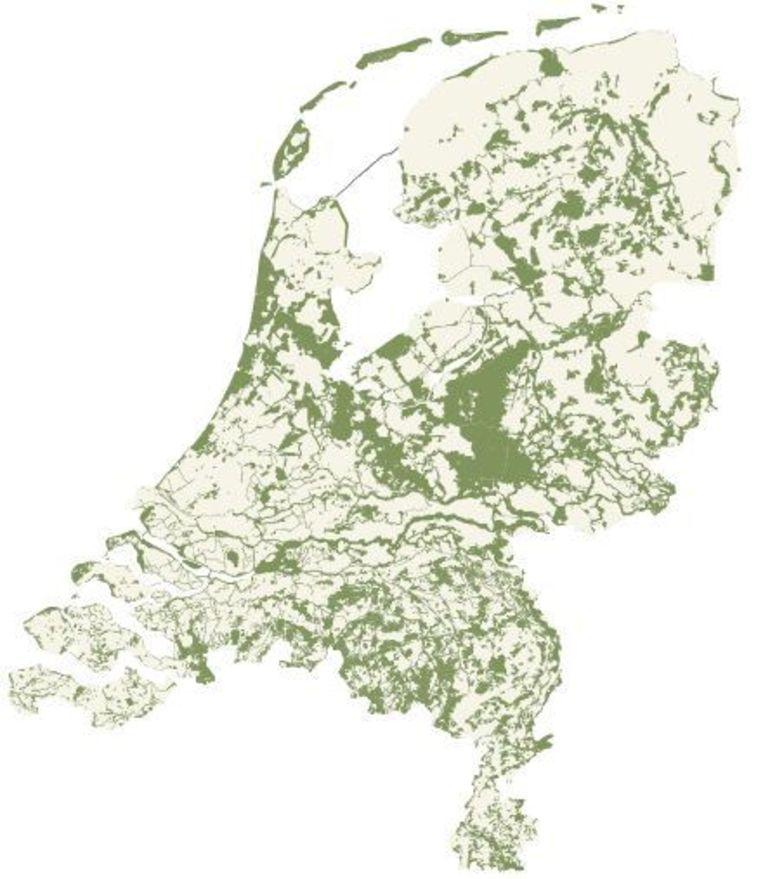 Nationaal natuurnetwerk. Beeld Ministerie van EL&I - GIS Competence Center