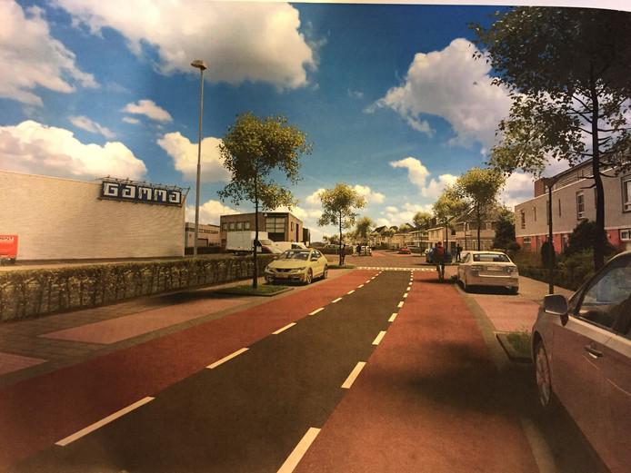 Impressie van de aanpassingen aan de Dukaat, beoogd ontsluitingsweg van de nieuw te bouwen wijk Heem van Selis aan de noordkant van Boxtel.