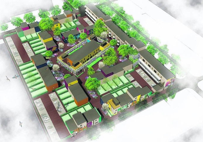 Het plan voor de bouw van woningen bij het Celsiusplein. Ontwerp Tarra en Buro Lubbers