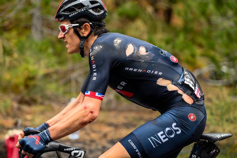 Geraint Thomas tijdens de derde etappe van de Giro d'Italia. Beeld AP