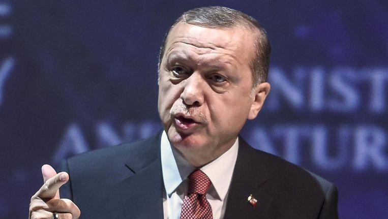 De Turkse president Recep Tayyip Erdogan Beeld null