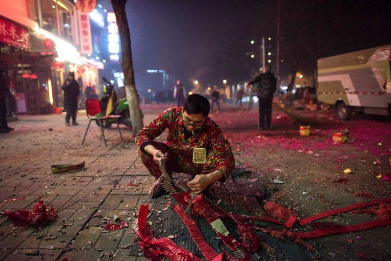 Vuurwerk tijdens Chinees Nieuwjaar. Beeld afp