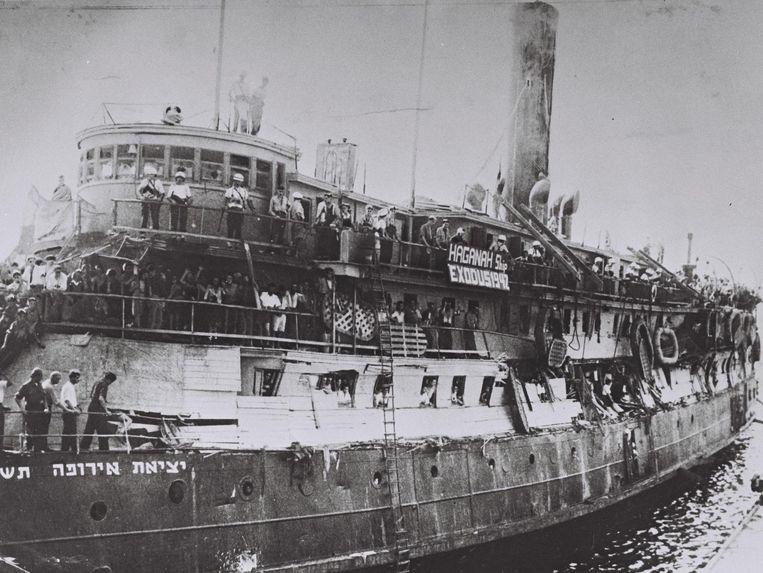 De Exodus in de haven van Haifa (1945-1948) Beeld Hans Pinn