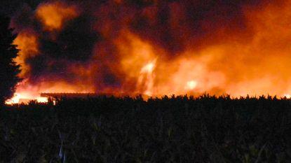Hooischuur nabij woning brandt helemaal uit