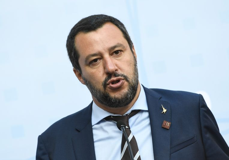 De Italiaanse minister van Binnenlandse Zaken Matteo Salvini.