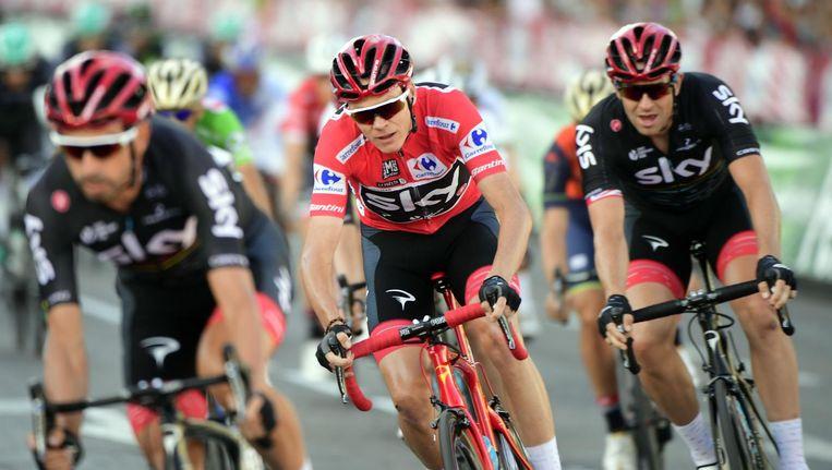 Froome in de Sky-trein in de Vuelta van 2017. Beeld afp