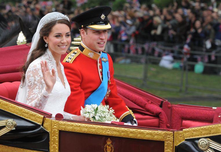 Kate en William tijdens hun huwelijk in 2011