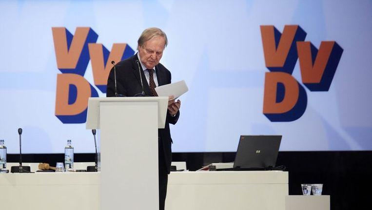 Voorzitter Benk Korthals tijdens de tweede dag van het VVD-congres. Beeld anp