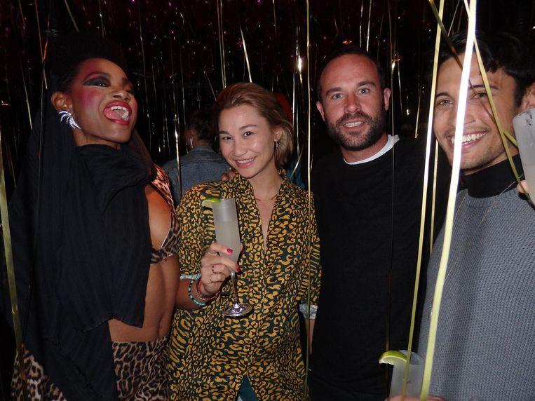 Cherella Gessel ('Model, actrice, hairstylist en meer'), feestbedenker Chanty Maddox (Tao Group), dj Jan van Kampen en Charro-Nathan Tanamal (Speak Easy) Beeld Schuim