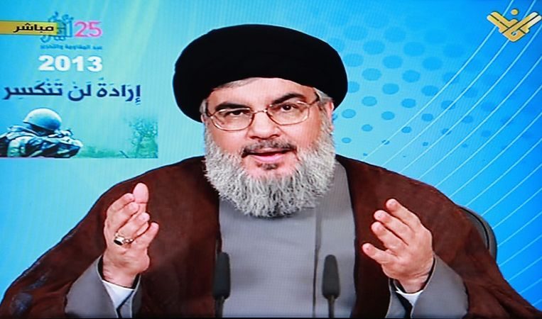 Hezbollah-leider Hassan Nasrallah tijdens zijn toespraak van afgelopen weekend. Beeld epa