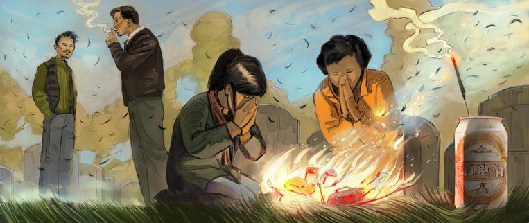 Pete Wu: 'We eren vandaag mijn overleden grootouders bij hun gezamenlijke graf ergens in de doodstille beboste bergen bij Wenzhou.' Beeld Hisko Hulsing