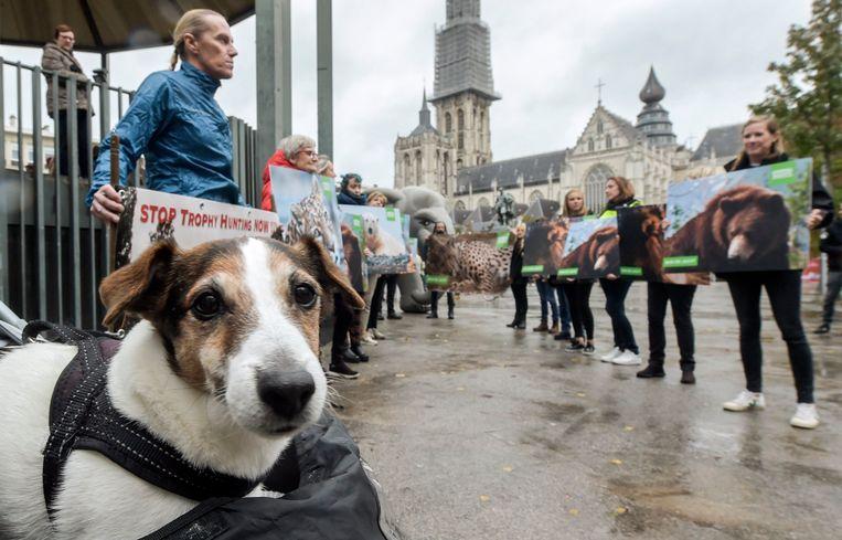 Demonstratie van Animal Rights tegen de trofeejacht.