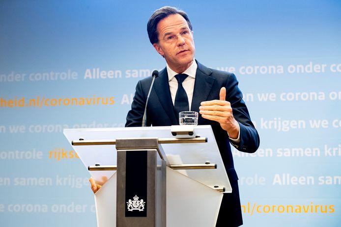 Premier Mark Rutte tijdens een persconferentie over de corona-maatregelen.