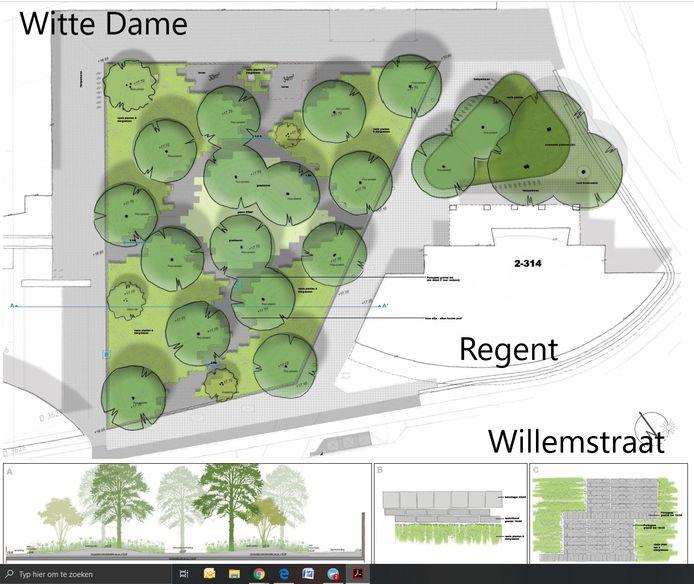 De inrichting van het Prins Clausplein in Eindhoven gaat er zo ongeveer uit zien.