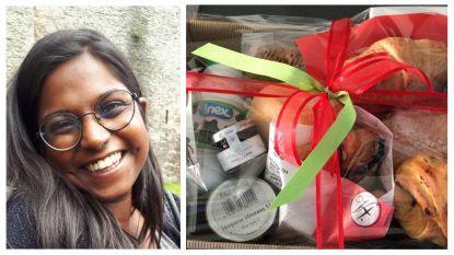 Anouk en haar 20 collega's kregen elk een ontbijtmand aan huis geleverd voor hun harde thuiswerk