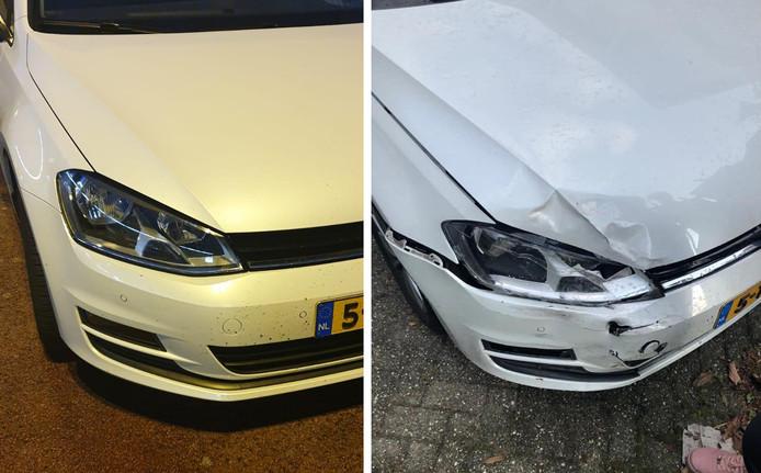 Voor en na: de schade aan de auto van het gezin uit Emmeloord was behoorlijk
