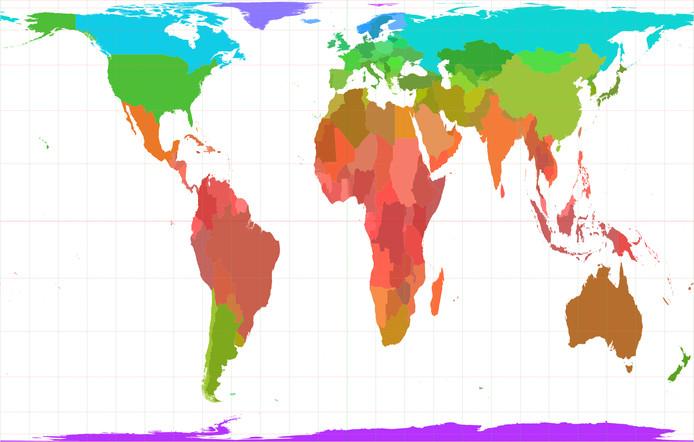De wereld zoals weergegeven in de Gall-Peters-projectie.