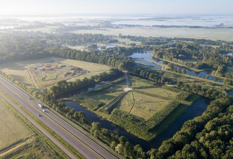 De nieuwe parkdelen Dwaalster en Frijlân (rechts) en sprookjestuin (links). Beeld Foto Iwan Baan