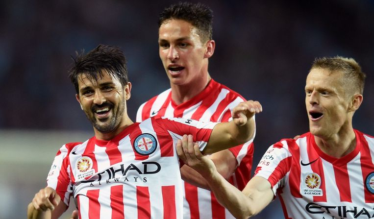 David Villa (links) in het shirt van Melbourne City in 2014. Beeld null