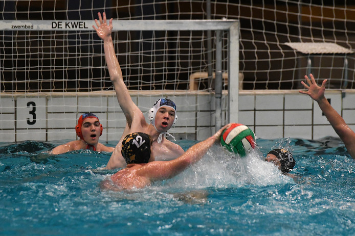 Loïc Hijl (arm omhoog) en doelman Loris Peters van Merlet verdedigen tegen De Rog.