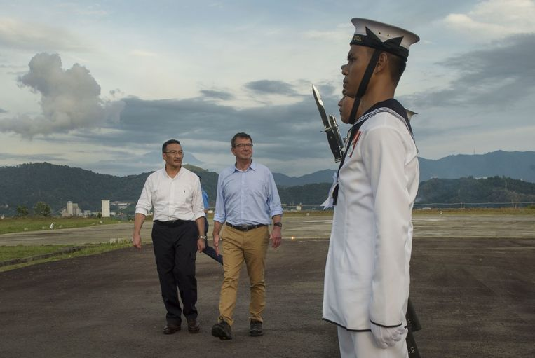 De Amerikaanse defensieminister Ashton Carter op bezoek in Maleisië.