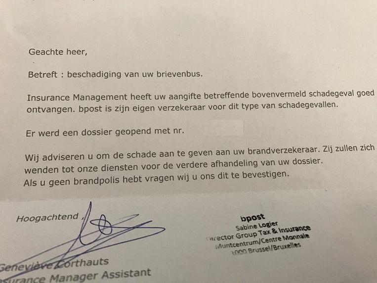 De gedupeerden ontvingen deze brief van bpost.