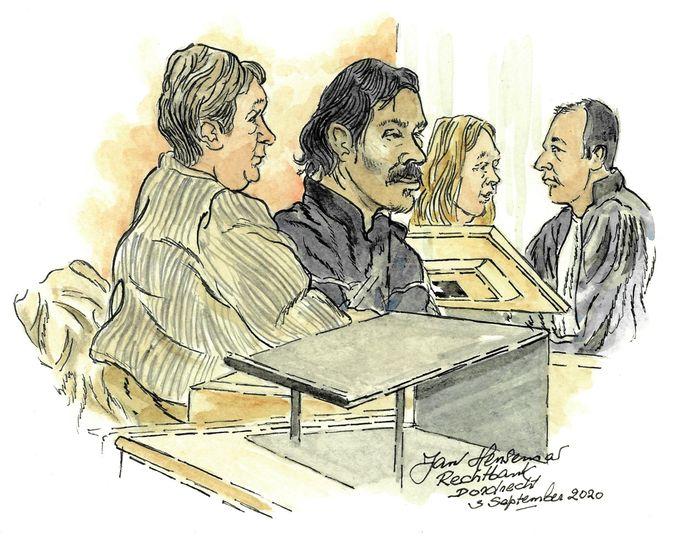 Van links naar rechter, de tolk, verdachte N.N. advocaat Renée van den Hemel en een rechter.