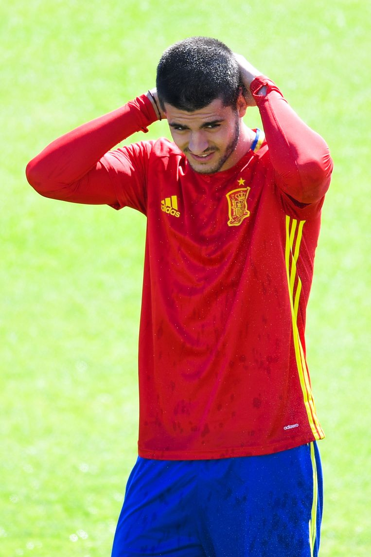 Alvaro Morata in het shirt van Spanje.