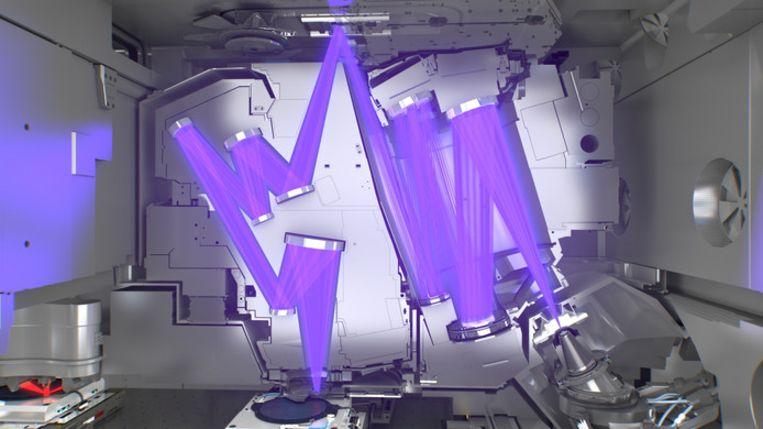 Het ultraviolette licht in een EUV-machine, waarmee microprocessoren en geheugenchips worden geproduceerd.